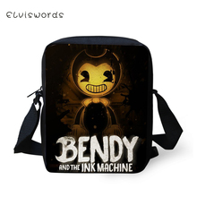 ELVISWORDS Fashion Women Messenger Bags Bendy and the Ink Machine Pattern Shoulder Girls Flaps Handbags Mini Kids Mochila