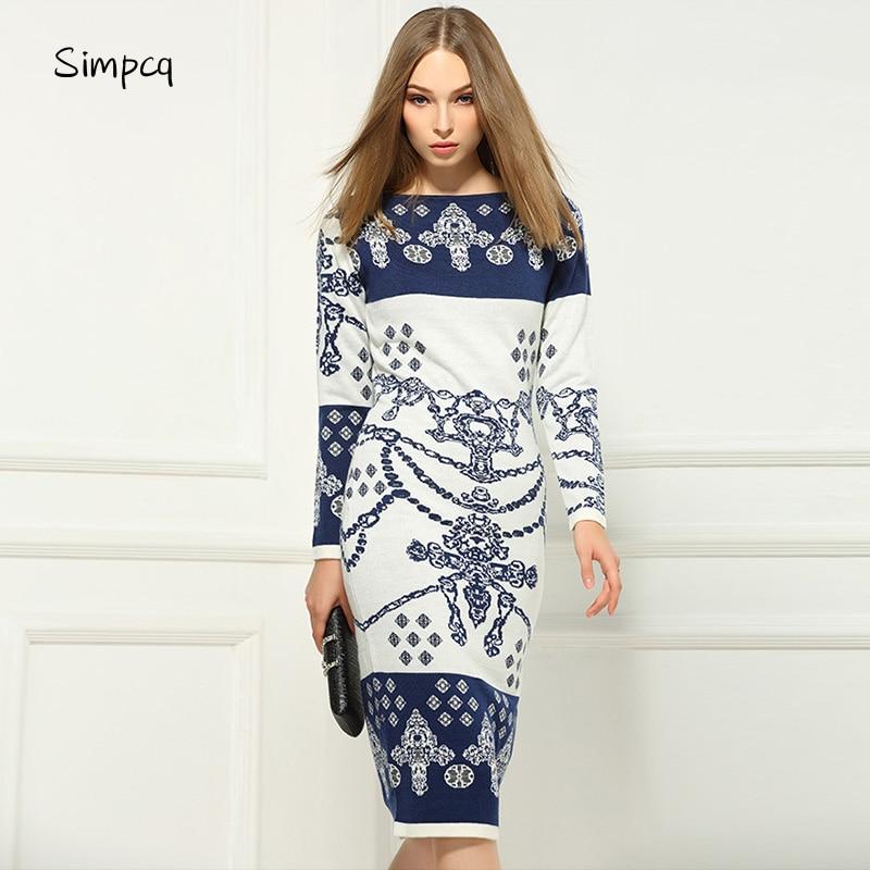 Full Slash Neck Straight Ankle length Real New Vestidos De Fiesta Maxi Dress Charm Women Dress Sweater Long Sleeve Hip