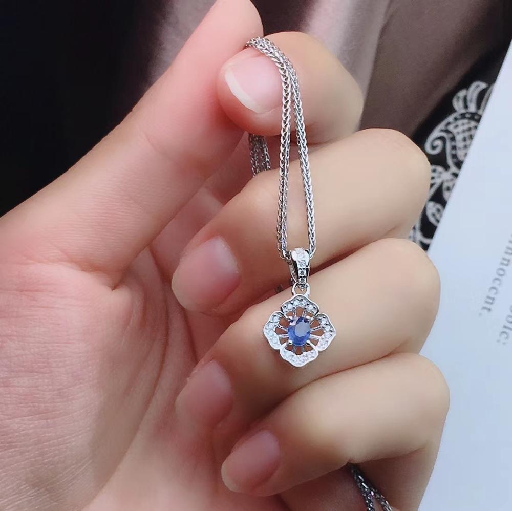 Neue art Blue sapphire edelstein schmuck set einschließlich ring ohrringe halskette mit 925 silber - 4