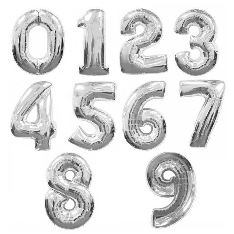 30/40 pulgadas oro plata número de hoja de globo dígitos helio globos cumpleaños fiesta boda decoración evento Fiesta suministros fotografía