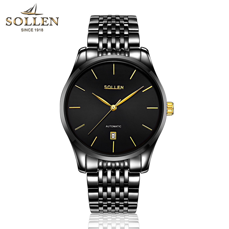 Luxury Brand SOLLEN black Full Stainless Steel Automatic Mechanical Watch Men Auto Date Designer Mens Watches Clock Male Relogio original binger mans automatic mechanical wrist watch date display watch self wind steel with gold wheel watches new luxury
