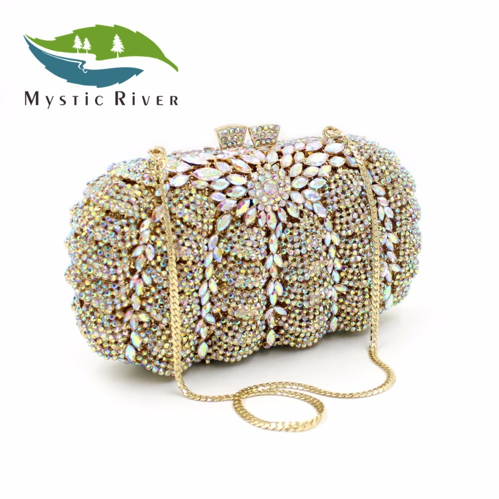 Mystic River Cristalino de Lujo Embragues Bolsos de Noche Las Mujeres Bolso Bols