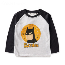 New Fashion boys clothes cartoon t shirt long sleeves 2017 spring 100 cotton casual kids top