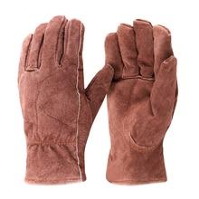 Бесплатная доставка 2 pairs корова замшевые перчатки темно-коричневый полный thinsulate lining безопасности защитные перчатки ключевой камень пальцем