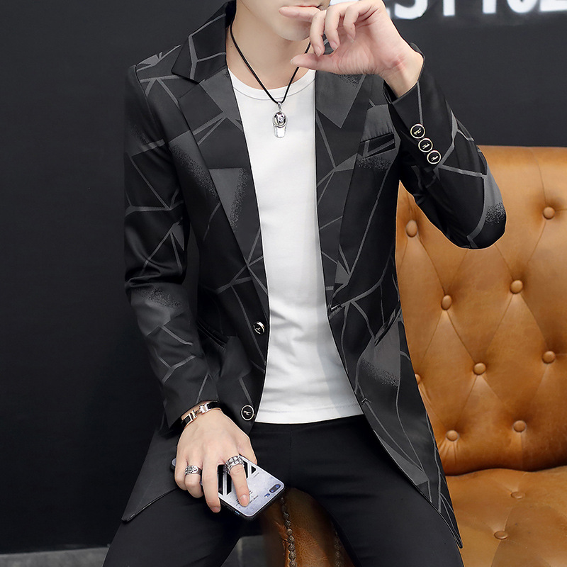 CO 2019 Fashion Personality In Men's Blazer The New Printing Cultivate One's Morality Fashion Long Blazer