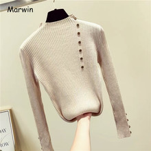 Marwin New-Coming Solid Regular Collar Bottoming Sweater Autumn Winter Women Knitted Pullovers High Street Style Button(China)