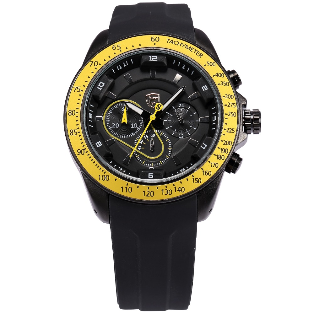 top shark sport watch brand rubber band tag black yellow. Black Bedroom Furniture Sets. Home Design Ideas