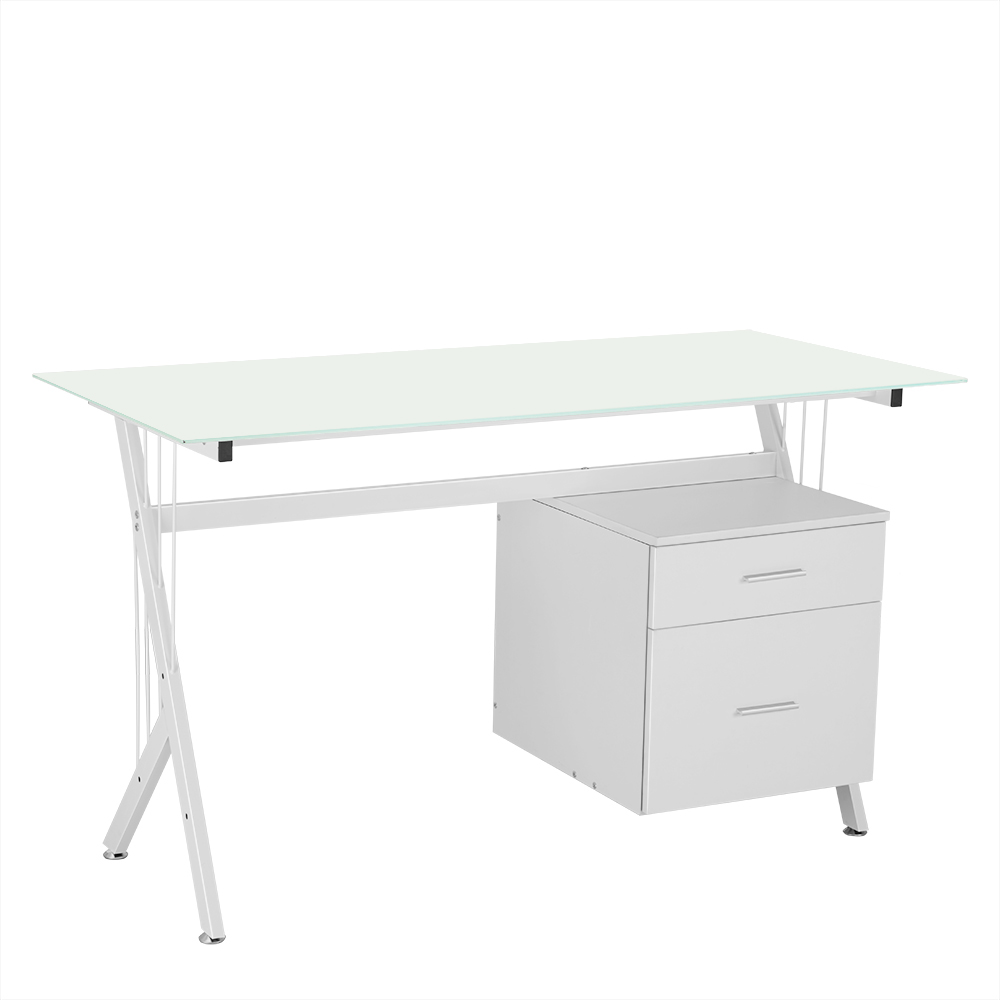 Glass Office Table Computer Desk Workstation with Suspended Cabinet and Drawers Office Furniture HOT SALE exploring of computer fundamentals and office automation