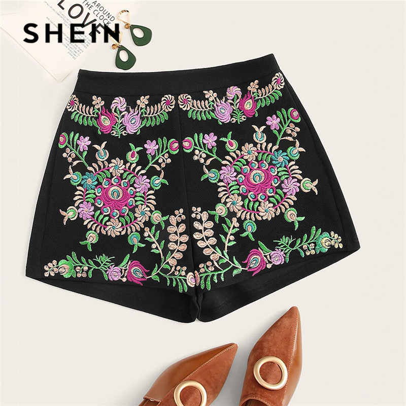 SHEIN Lady Black Floral Embroidered Summer   Shorts   Women Boho Mid Waist   Short   Pants Casual Zipper Fly Skinny Booty   Shorts