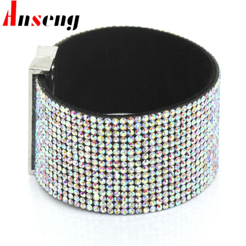 Anseng Brand Classic Crystal Female Leather Braceles