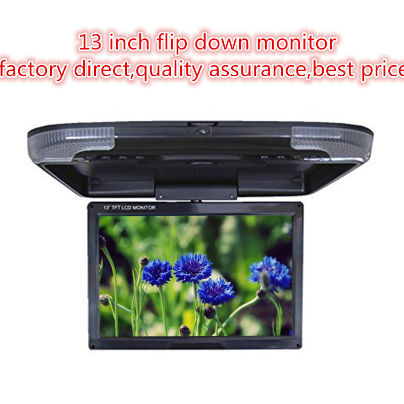 Factory direct DC 12V car monitor 13 inch TFT LCD Roof Mount Monitor 2- way video input Flip Down Monitor