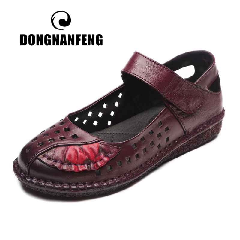 DONGNANFENG Women Mother Female Ladies Shoes Sandals Cool Beach Summer Cow Genuine Leather Pigskin Hollow Design 35-41 MLD-8315
