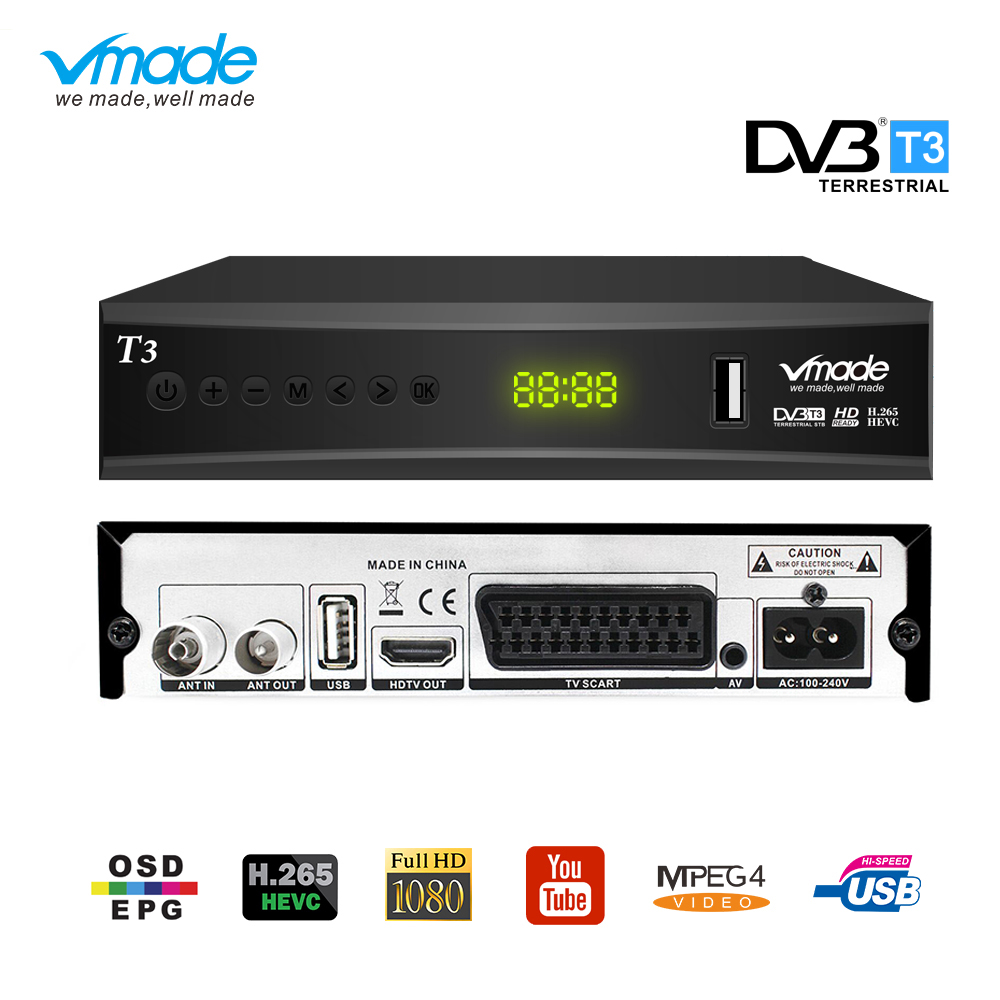 DVB T2 TV tuner H.265 MPEG 2/4 tv Box HDMI 1080P DVB T3 digital terrestrial tv receiver decoder Built in scart Dobly dvb tv box-in Satellite TV Receiver from Consumer Electronics