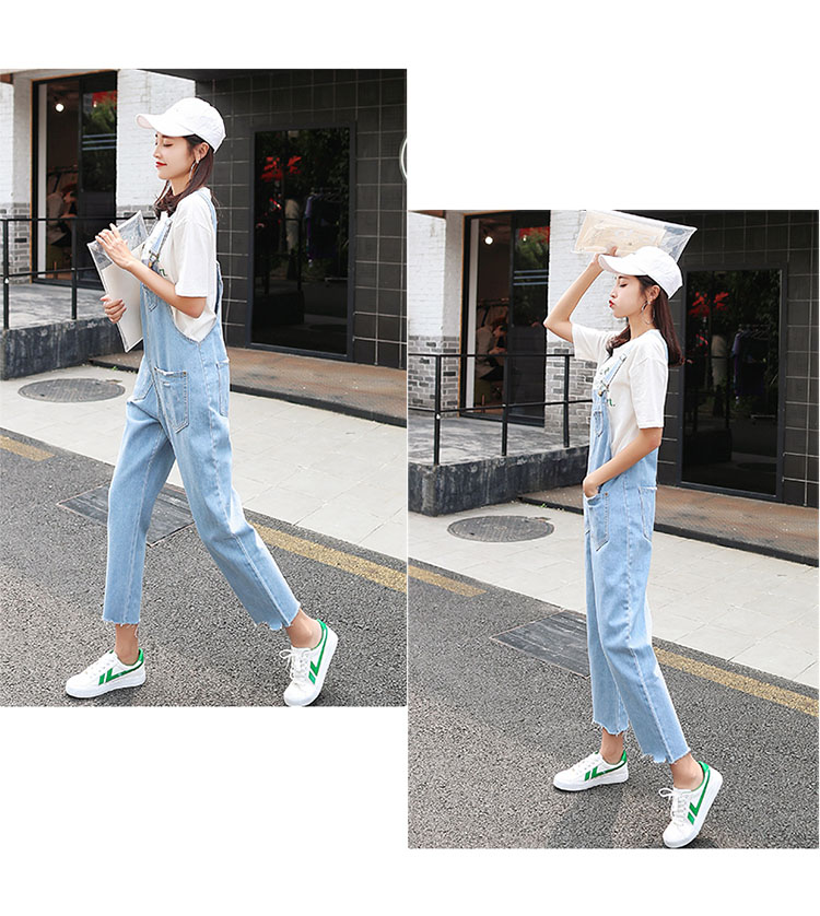Stylish suspender jeans. College style, casual denim pants. (35)