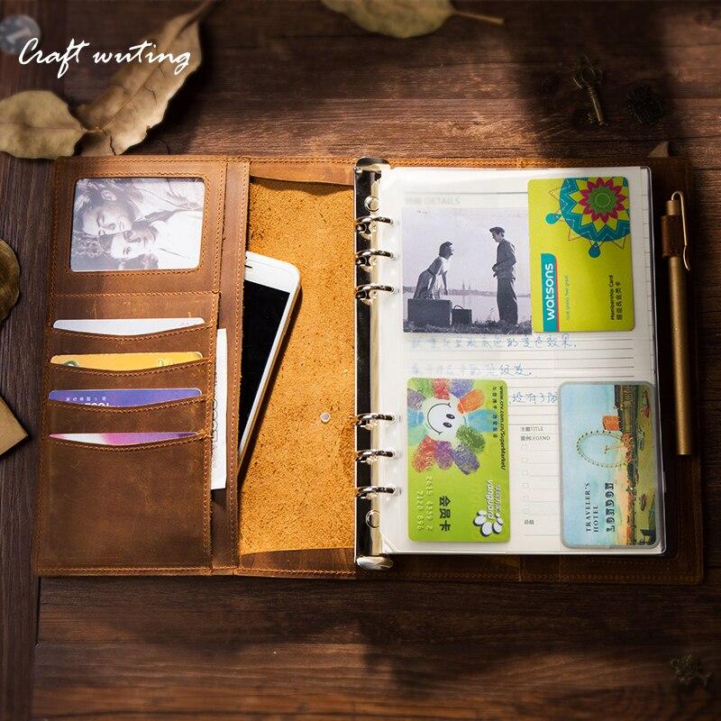 Еженедельник ручной работы Винтаж кожаный ежедневник Тетрадь A5 A6 A7 кожуры binder Sketchbook для путешествий журнала Business officeschool