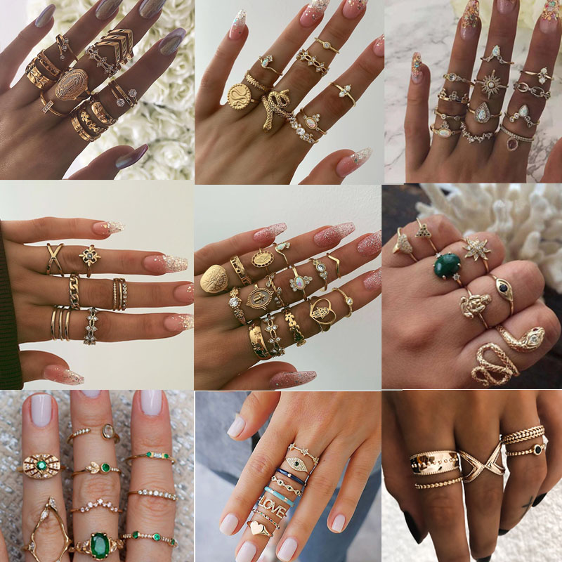 GUVIVI 15 Pcs/set Vintage Boho Snake Shape Animals Finger