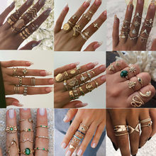 15 stks/set Vintage Boho Snake Shape Dieren Vinger Ringen Set Gold Crystal Midi Kunckle Ring Wedding Party Sieraden Accessoires(China)