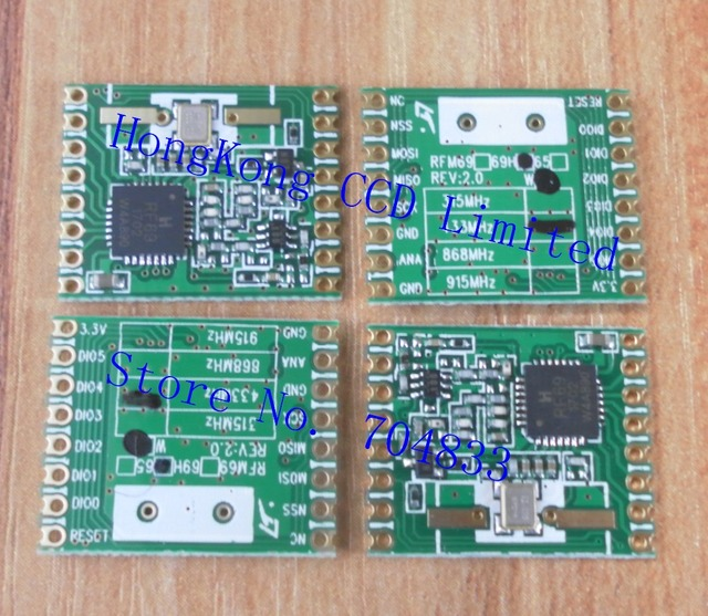 free shipping 4pcs/lot FSK module RFM69HW 20dBm RF FSK transceiver MODULE 433/868/915MHZ can be selected