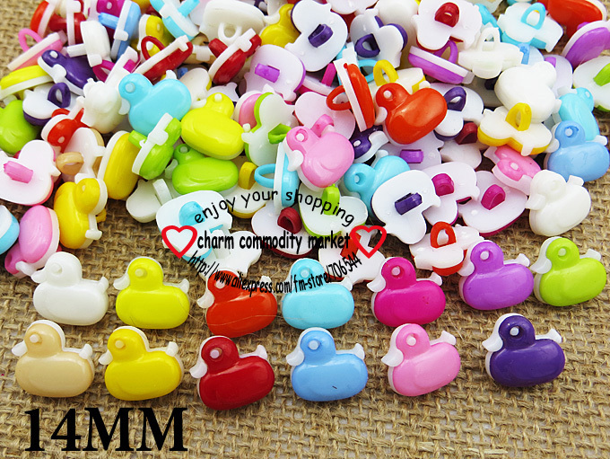 100PCS Duck shape mixed Dyed Plastic cartoons buttons coat boots sewing clothes accessorY Brand button P-083