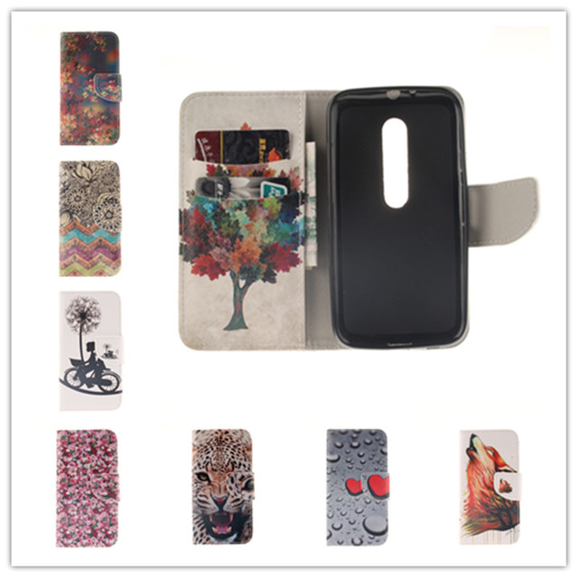 New Flip Leather Case For Motorola Moto G3 Fashion Colorful Painted PU Stand Wallet Protective Phone Cover For Moto G 3 3rd Gen