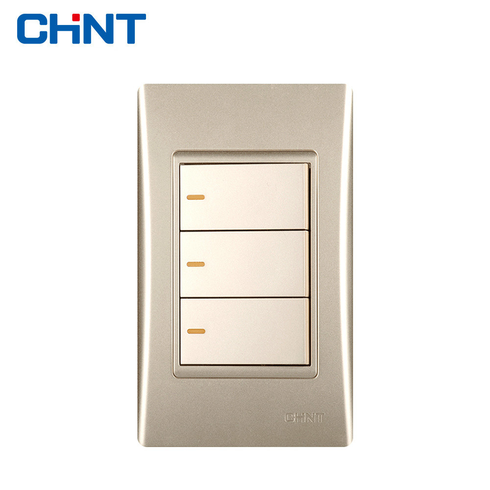 Chint Modern Light Switches 120 Type New9e Series One Gang Two Way Triple Switch Face Electric New9l Electrical Wall Socket Golden Three
