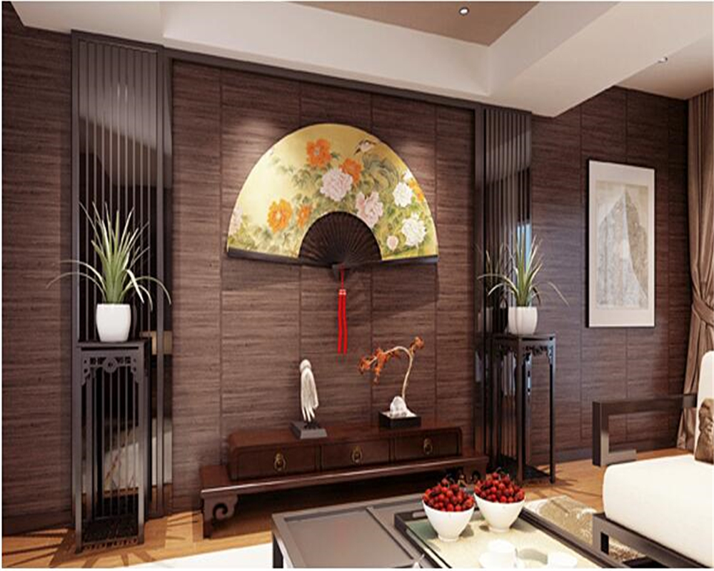 beibehang Chinese vintage woodgrain 3d wallpaper ceiling imitation straw and style Japanese style living room bedroom wall paper