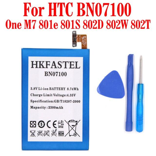 HKFASTEL New BN07100 Li-ion Mobile Phone Battery For HTC One M7 801e 801S 802D 802W 802T HTL22 ONE J,2300mAh High Quality