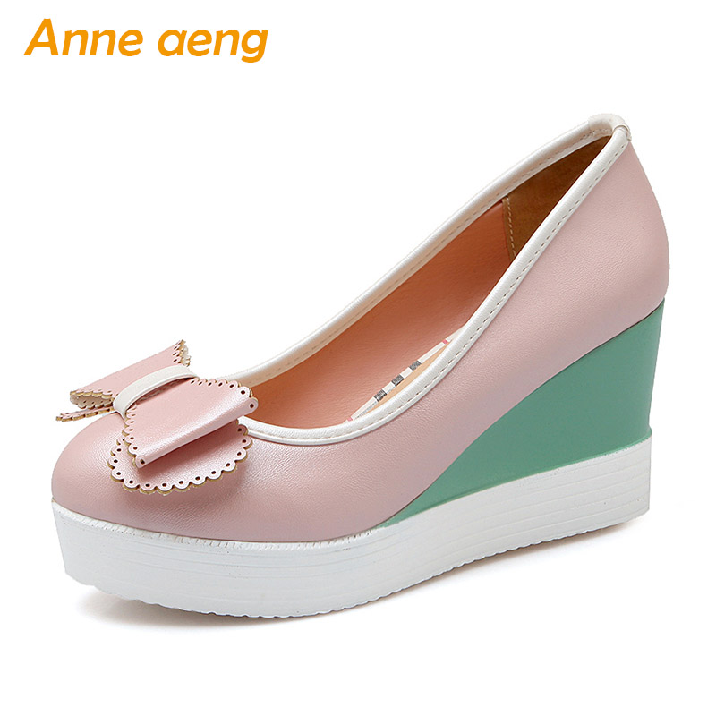 New Spring/Autumn Women Pumps Round Toe High Wedge Heels Platform Shoes Sweet Ladies Shoes Pink Women Pumps Big Size 33 43
