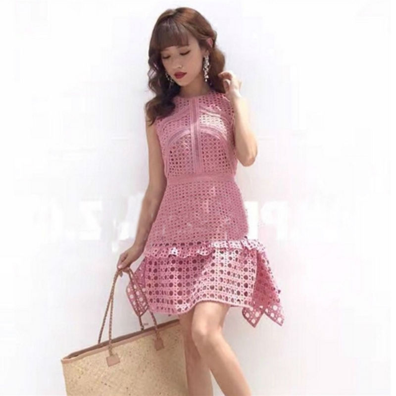 [NEW SALE] 2017 Summer One-piece Dress Sleeveless Lace Sim A-line Pink Cutout Short Dress S,M,L