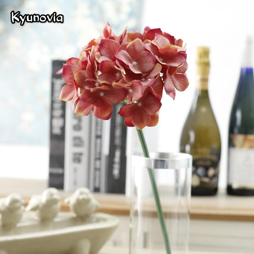 Kyunovia 2pcslot Artificial Silk Hydrangea Flower Branch Wedding