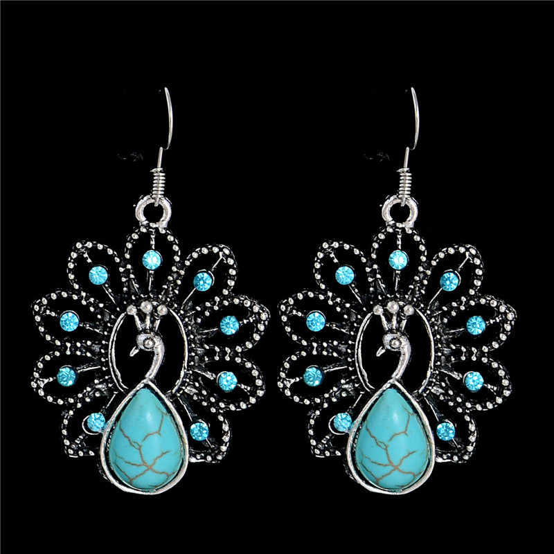 SHUANGR High Quality New Retro Series Peacock Earrings Charm Exquisite Palace Resin Earrings for Women Jewelry