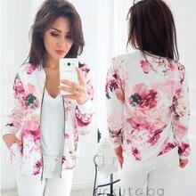Fashion Womens Printing  jacket 2019 large size retro Floral Print Baseball Jacket Zipper Long Sleeve Autumn Casual Outwear