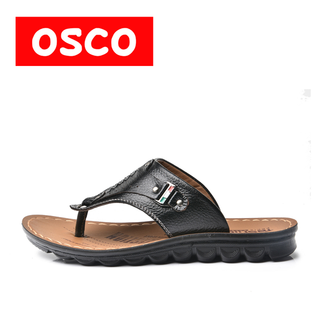 928e25ee4c10 OSCO Factory Direct High Quality Genuine Split Leather Men Beach Sandals  Brand Men Casual Shoes Flip Flops Sneakers  Y023