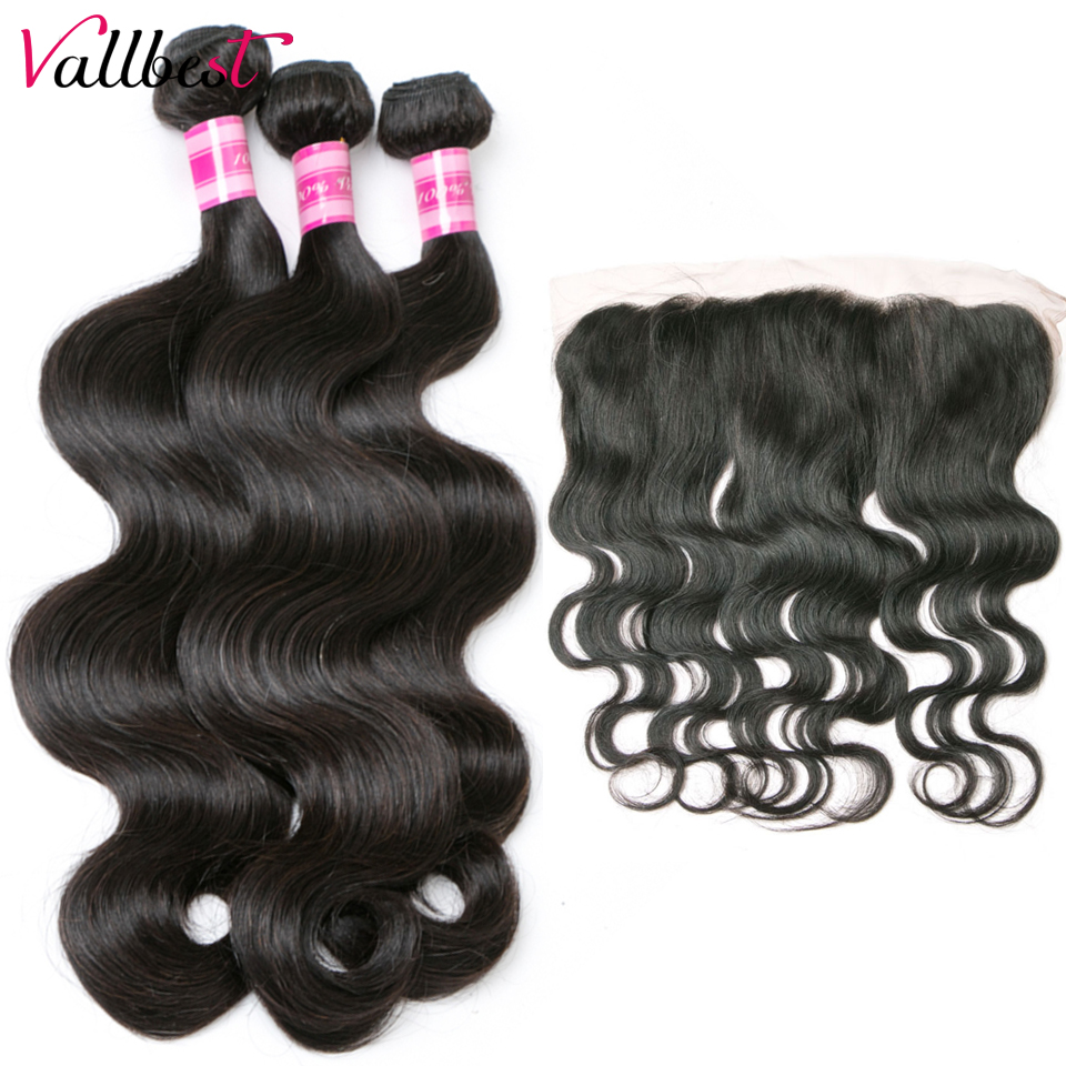 Vallbest Peruvian Hair Bundles With Closure 4X13 Human Hair Body Wave Bundles With Frontal Non Remy Hair Weave Hair Extension