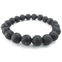 Jewelry Men's Bracelet, Stone Crystal Natural  Ball, 10mm Lava, Black