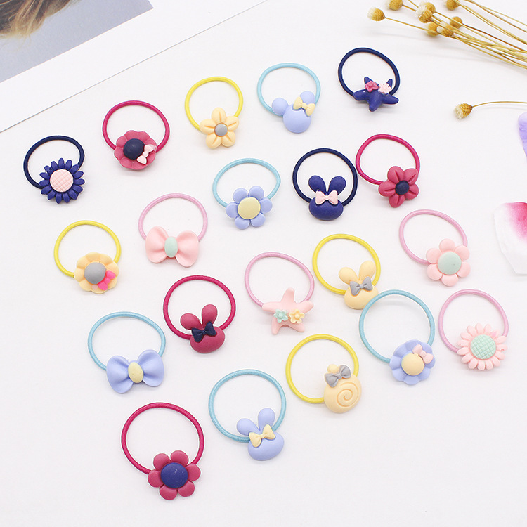 20PCS/lot New Frosted Elastic Rubber Hair Bands Girls Floral Ponytail Headwear Headband Cartoon Mix Elastic Hair Accrssories