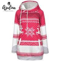 AZULINA Hoodies Women Christmas Elk Snowflake Polka Dot Pocket Hoodie Woman Sweatshirts Pullover Winter Long Sleeve