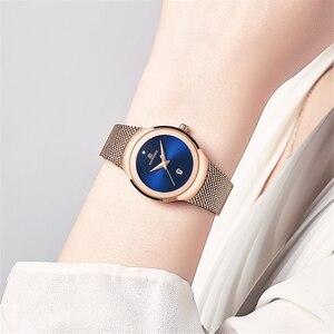 Image 5 - NAVIFORCE relojes superfino para mujer, de malla plateada, de acero inoxidable, de pulsera, informal