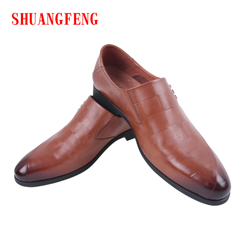 SHUANGFENG Brand New Fashion Genuine Leather Men Shoes Business Dress Pointed Toe Shoes Man Breathable Formal Wedding Shoes new arrival pointed toe men wedding shoes men s lace up breathable business casual shoes fashion man hairstylist shoes size38 44