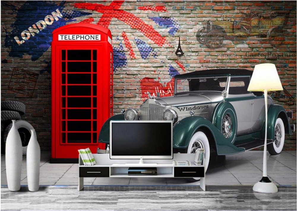 3d wallpaper custom mural photo the old car the booth for Car wallpaper mural