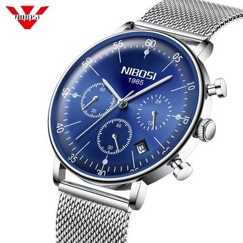 NIBOSI 2019 Arch Glass Watch Men Blue Stainless Steel Clock Waterproof Chronograph Watches Men Sport Luminous Relogio Masculino