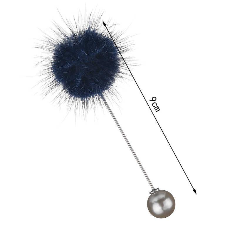 Nowy śliczny urok imitacja perły broszka przypinki dla kobiet koreański futro piłka pomponowa Piercing Lapel broszki kołnierz biżuteria prezent