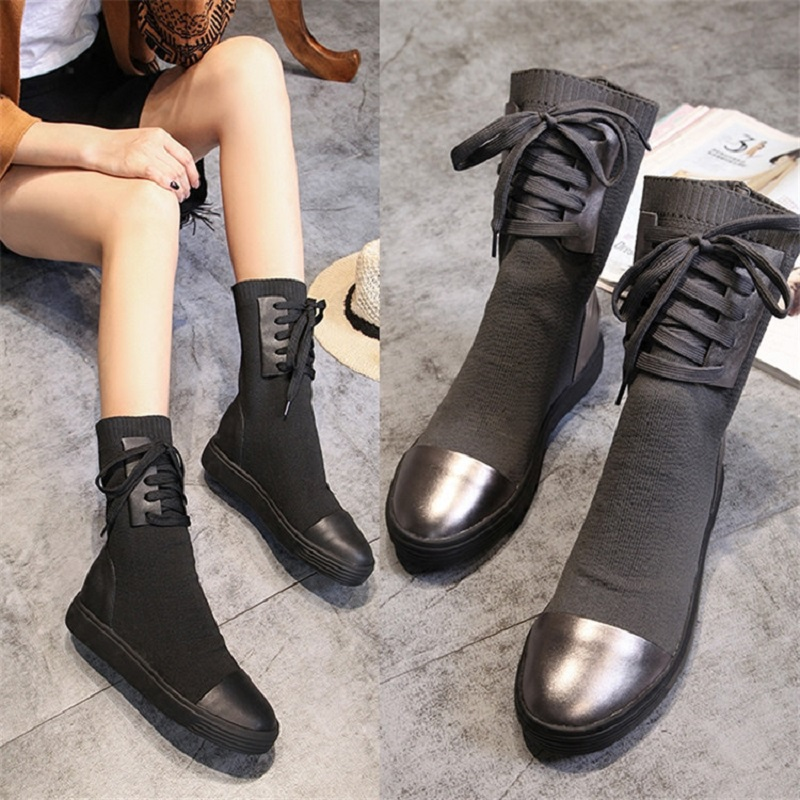 European station 2018 autumn and winter new boots women's leather increased thick bottom elastic boots in the tube leisure wool 2017 autumn and winter new plus velvet thick women s boots soft bottom comfortable breathable mother shoes wild leather
