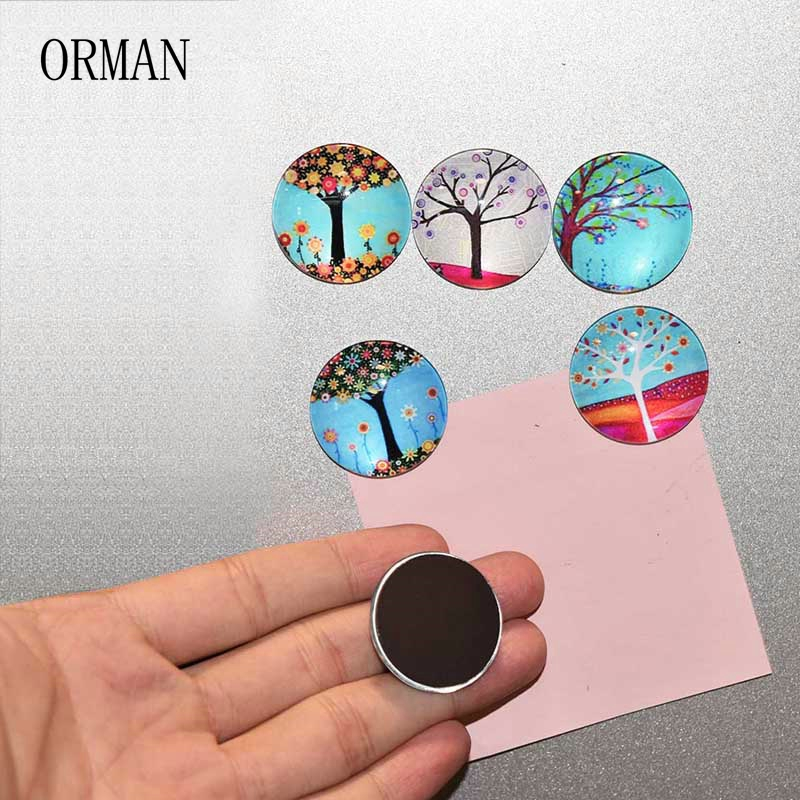 5pcs/Set Cute Round Life Tree Refrigerator Sticker Fridge Magnet Toy Glass Cabochon Fridge Magnet Funny Gift Home Decor