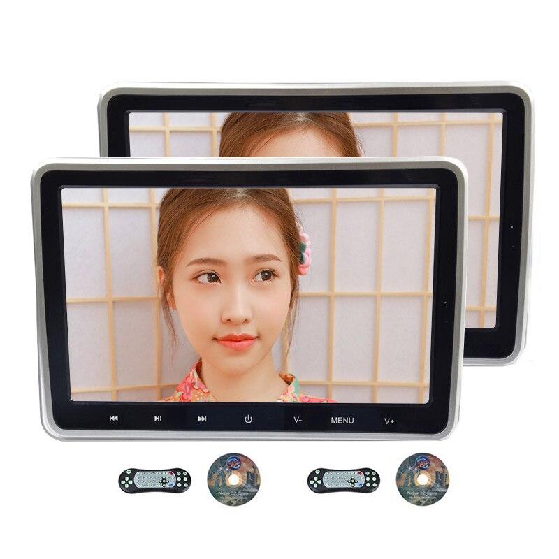 Ритм 2 шт. 10,1 дюймов автомобиля мониторы подголовник DVD видео плеер USB/SD/HDMI/IR/FM TFT ЖК дисплей экран сенсорная кнопка игры дистанционное управле