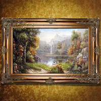 unframe 2016 Real Paintings landscape Hand Painted Oil Canvas Lovely forest For Living Room Wall Art Home Decor Picture Set