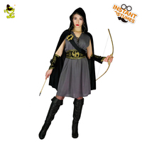 Women Deluxe Robin Hood Costumes Carnival Party Cool Bandit Cosplay Dress with Cape Adult Female Classical Hero Robin Costumes