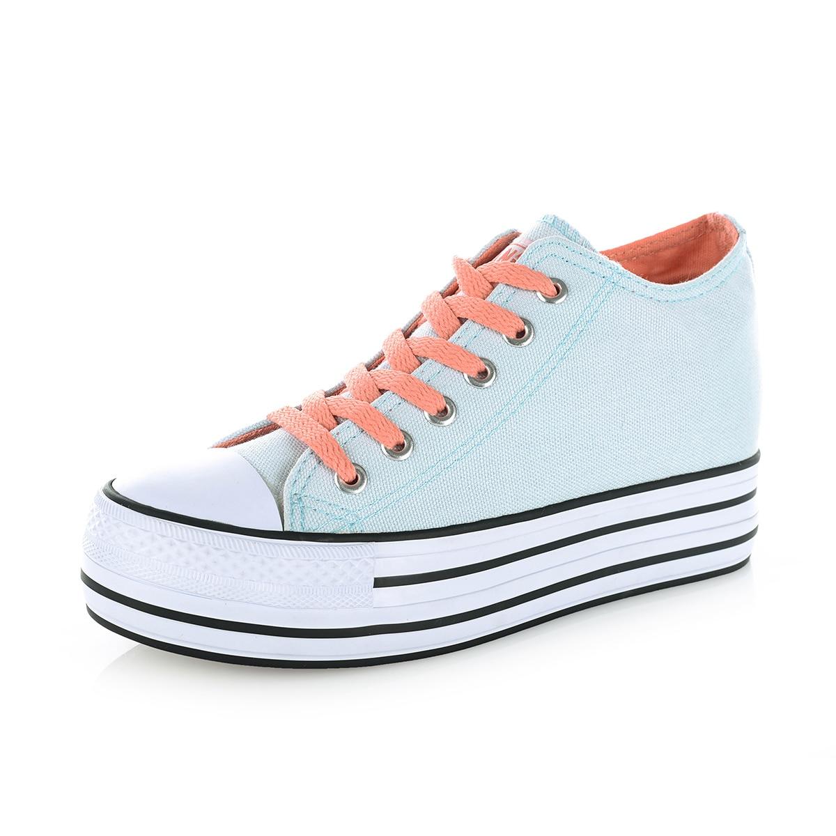 3c62c1a9d43 Women Canvas Shoes Woman Flats Platform Shoes Fashion High To Help Ventilation  Casual Shoes B2714