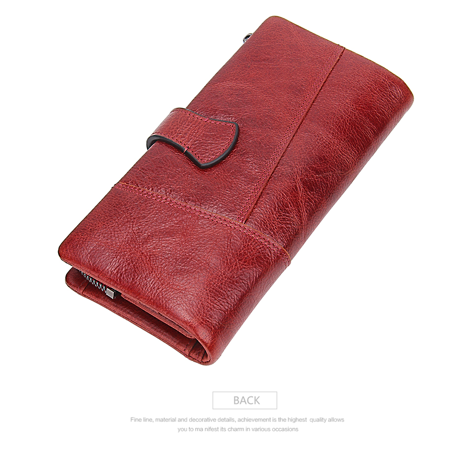 Genuine Leather Long High Capacity Ladies Purse