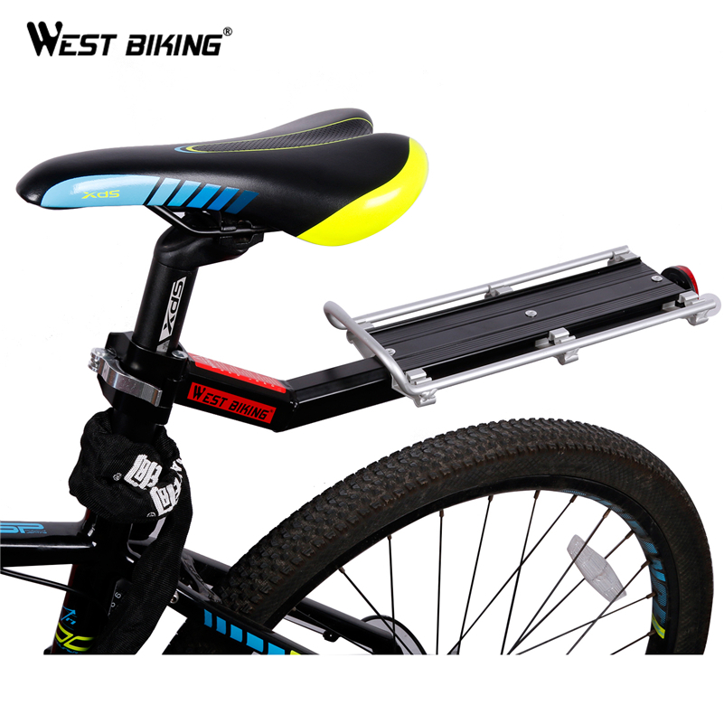 WEST BIKING Bike Rack Bicycle Luggage Carrier Cargo Rear Rack Reflector Shelf Cycling Seatpost Bag Holder Stand Bicycle Racks 2018 bike luggage cargo rear rack can be acted as power bank useful bicycle rear carrier racks new bicycle accessories